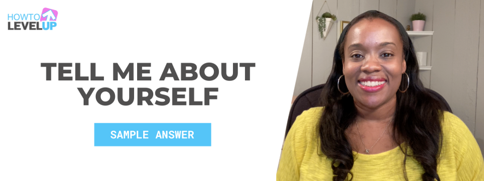 Tell Me About Yourself: Sample Answer. A photo of Rhona sitting in her office smiling.